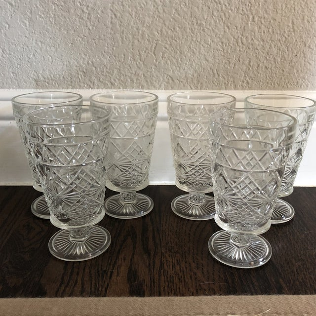 1950s Set of 6 - Vintage Cut Glass Water Goblets For Sale - Image 5 of 5