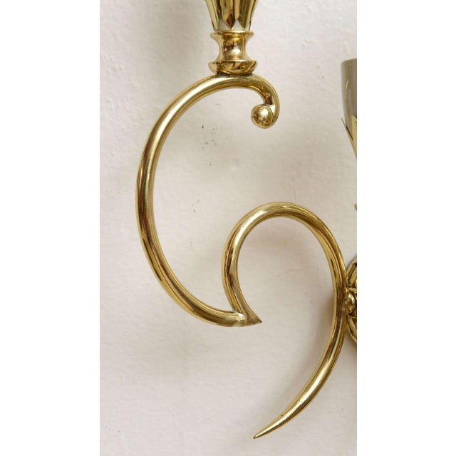Brass Italian Brass Sconces - Pair For Sale - Image 7 of 9