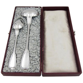 Antique Christofle Large Serving Spoon and Ladle in Original Box For Sale