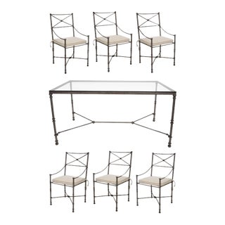 Pier 1 Medici Collection Pewter Iron Dining Set Table With Glass Top & 6 Chairs - Set of 7 For Sale