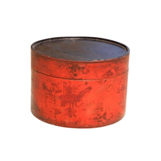 Large Size Antique Painted Red Lacquer Hat Box For Sale
