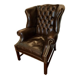 English Chocolate Brown Tufted Leather Wingback Chair For Sale