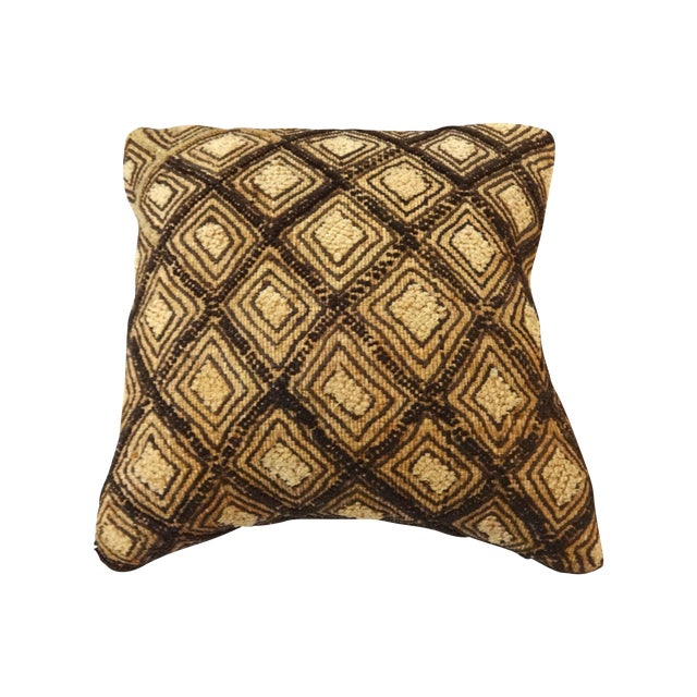 African Embroidered Kuba Textile Pillow Congo For Sale