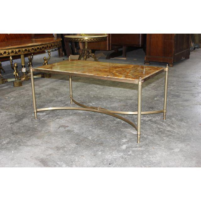 French Maison Jansen Coffee Or Cocktail Table Bronze Rectangular With Onyx  Top .   Image 4