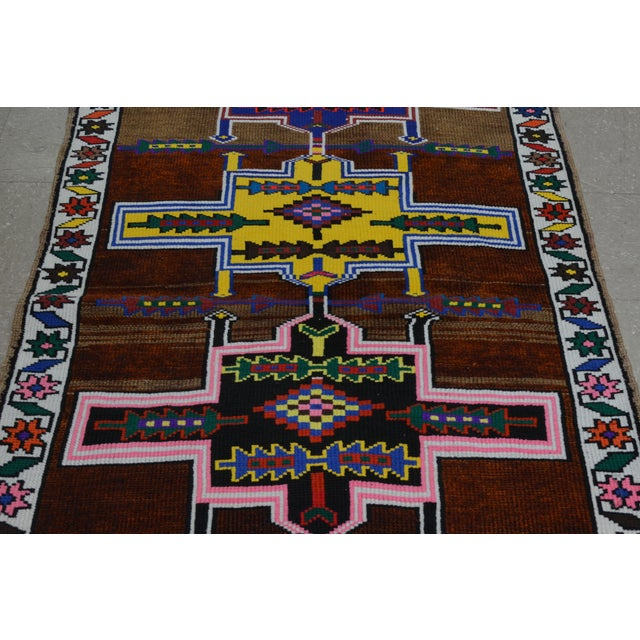 Contemporary Vintage Kurdish Runner Rug - 2'10''x10'10'' For Sale - Image 3 of 4