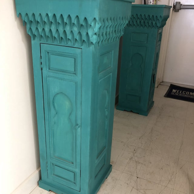 20th Century Moroccan Green Wooden Pedestal For Sale - Image 4 of 5