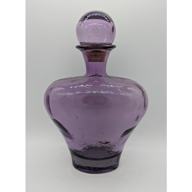 Large Mid-Century Modern Amethyst Glass Decanter For Sale - Image 10 of 10