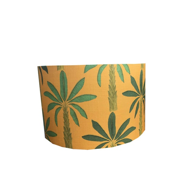 "Not Yet Made - Made To Order Tropical Drum 18"" Lamp Shade in Gold Yellow For Sale - Image 5 of 5"
