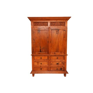Large Indonesian Style Carved Teak Armoire