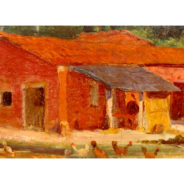 "1940s Attributed to Morris Graves ""Farmhouse With Chickens"" Oil Painting For Sale - Image 5 of 10"