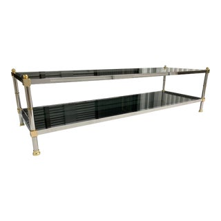 Mid-Century Modern Chrome Brass and Glass Two-Tiered Coffee Table Jansen Manner For Sale