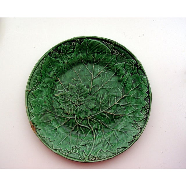 Antique English Majolica Plate With Grape Leaf - Image 2 of 4