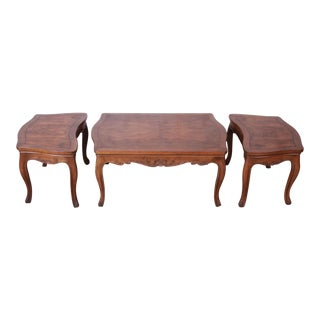 Baker Furniture French Carved Burl Wood Coffee Table and End Tables, 3 Piece Set For Sale