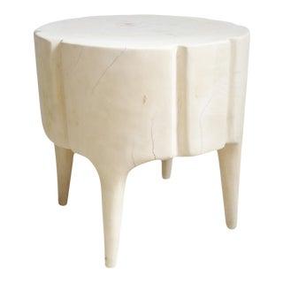 Cream Scallop Stump Stool For Sale