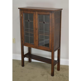 Antique Arts & Crafts Style Oak Leaded Glass 2 Door Small Bookcase Preview