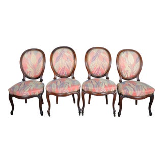 1950's Louis XVI French Medallion Rosewood Chairs W/ Abstract Pink Floral Upholstery - Set of 4 For Sale
