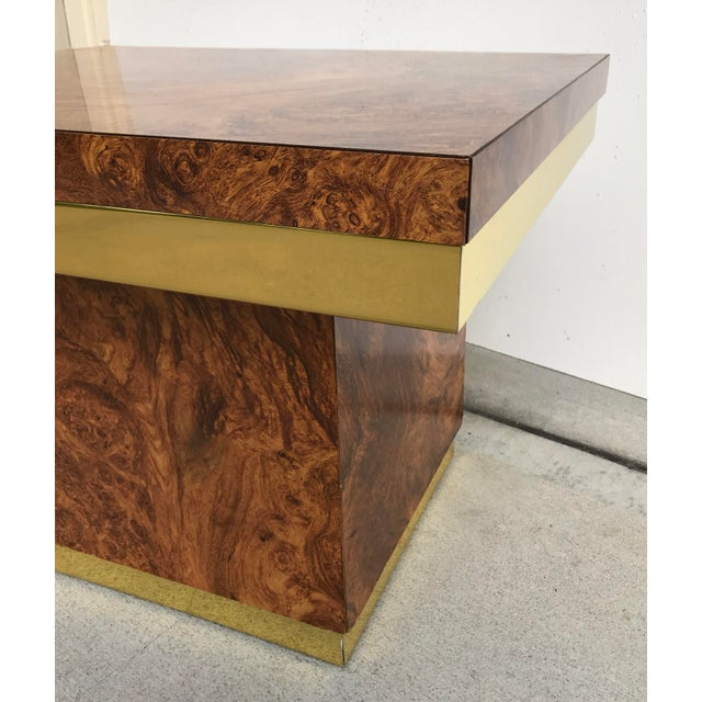 Metal Faux Burl and Brass Accent Table For Sale - Image 7 of 10