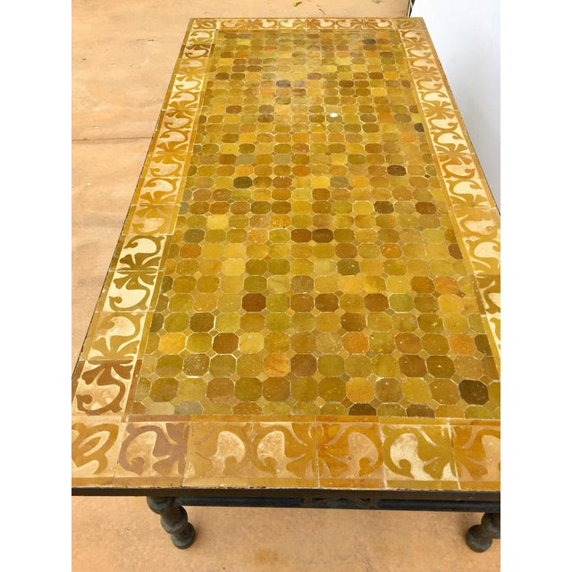 Mid 20th Century Moroccan Vintage Mosaic Brown Tile Rectangular Coffee Table For Sale - Image 5 of 12