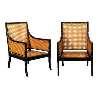 Beautiful Restored Pair of Large-Scale Double-Sided Cane Club Chairs For Sale