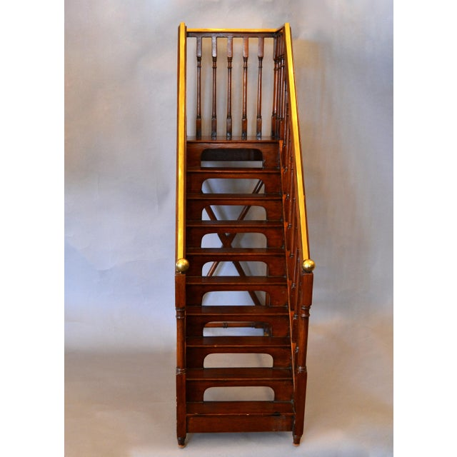 Late 19th Century Architectural Decorative Victorian Walnut & Brass Library Steps, Ladder, Stairs For Sale - Image 5 of 13