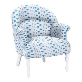 Virginia Kraft for Casa Cosima Napolean III Chair, Polkat, Indigo For Sale