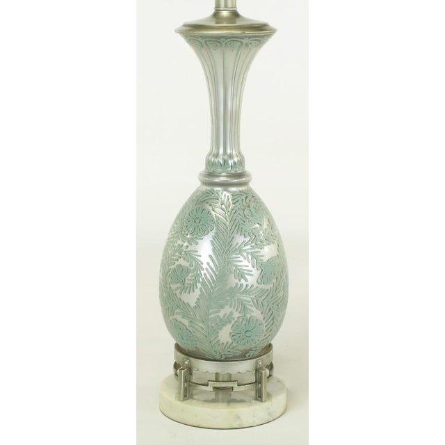 Pair Reverse Silvered & Hand Painted Glass Table Lamps - Image 4 of 8
