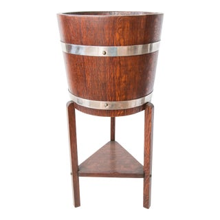 Antique English Oak Wine Cooler or Jardiniere For Sale
