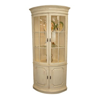 Drexel Heritage French Country Bow Front Corner China Display Cabinet For Sale
