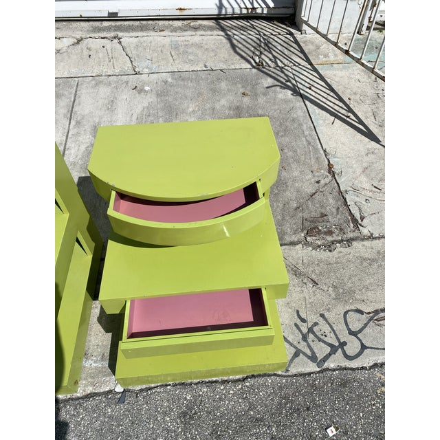 Artdeco Style Side Tables Ore Nightstands in Apple Green Color a Pair. For Sale - Image 4 of 6