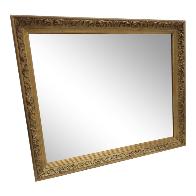 Vintage 1960s Gesso Gold Wood Square Wall Mirror For Sale