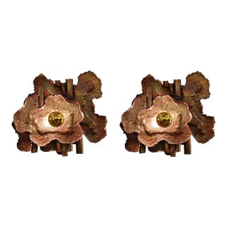 Mid-Century Modern Brutalist Copper Sconces, Italy 1970s - a Pair For Sale