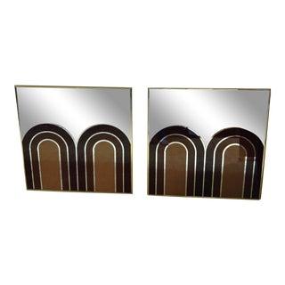 Sharon Art Concept Geometric Op Art Mid Century Mirrors - a Pair For Sale