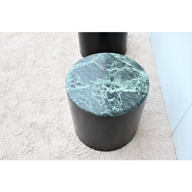 Wood Mid Century Modern Paul Mayen Style Green Marble Top Drum Side Tables - a Pair For Sale - Image 7 of 13