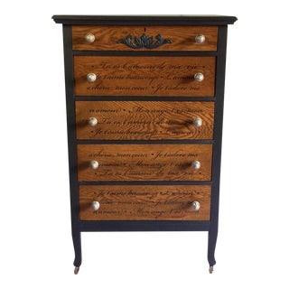 1920s French Industrial Hand Painted Oak Tall Dresser