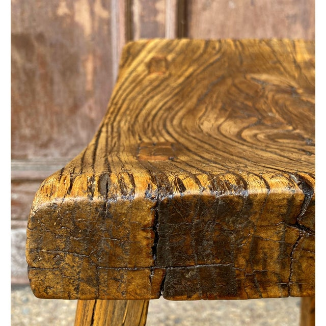 Brown English Saddle Seat or Farm Stool of Elm For Sale - Image 8 of 13
