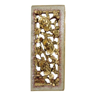 Antique Chinese Sculptural Red and Gold Chrysanthumum Wood Wall Hanging Panel For Sale