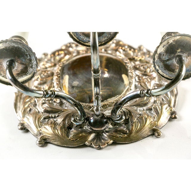 Spanish Silver Shield Triple Candelabra Sconces, Pair (3 Pairs Available) For Sale - Image 11 of 13