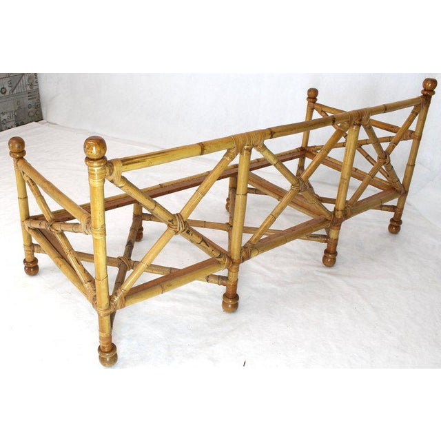 Heavy Gage Thick Bamboo and Leather X-Base Sofa Frame For Sale - Image 4 of 12
