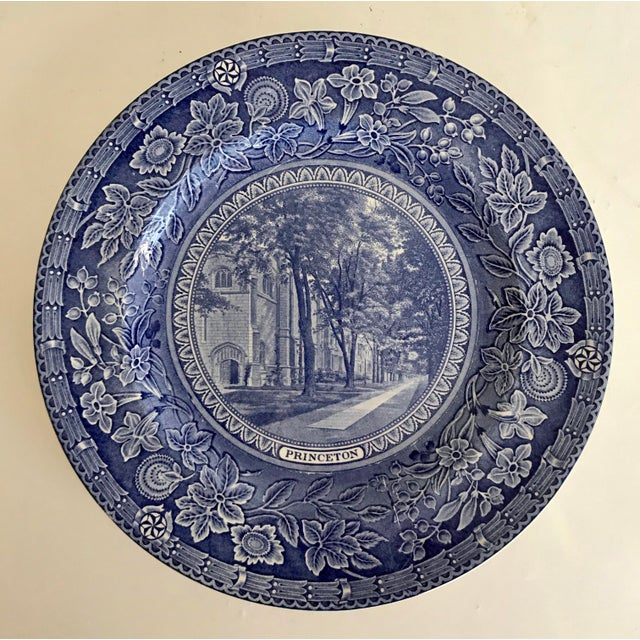 1930 Wedgwood Princeton University Blue and White Dinner Plate Set of 9 For Sale - Image 9 of 12