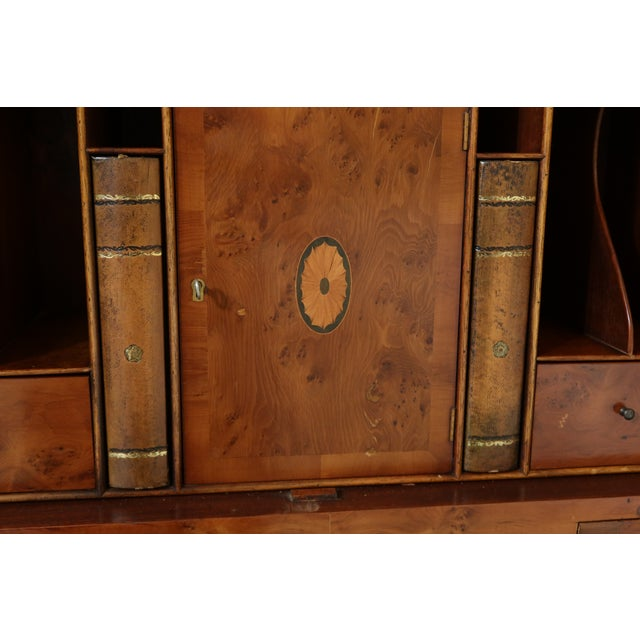 English Made Vintage George III Double Bonnet Walnut Secretary Desk For Sale - Image 11 of 13