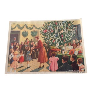 Mid-Century French School Chromolithograph of Christmas Celebration For Sale