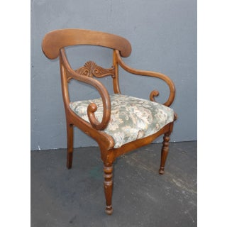 Vintage French Country Carved Wood Accent Chair Unique Scrolled Hand Rests Preview