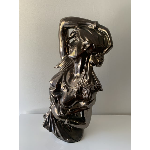 "Emmanuelle Villanis style plaster ""bronzed"" female bust. Striking pose, excellent condition."