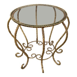 Hollywood Regency Italian Gold Gilt Rope Glass Top Spider Side Table For Sale