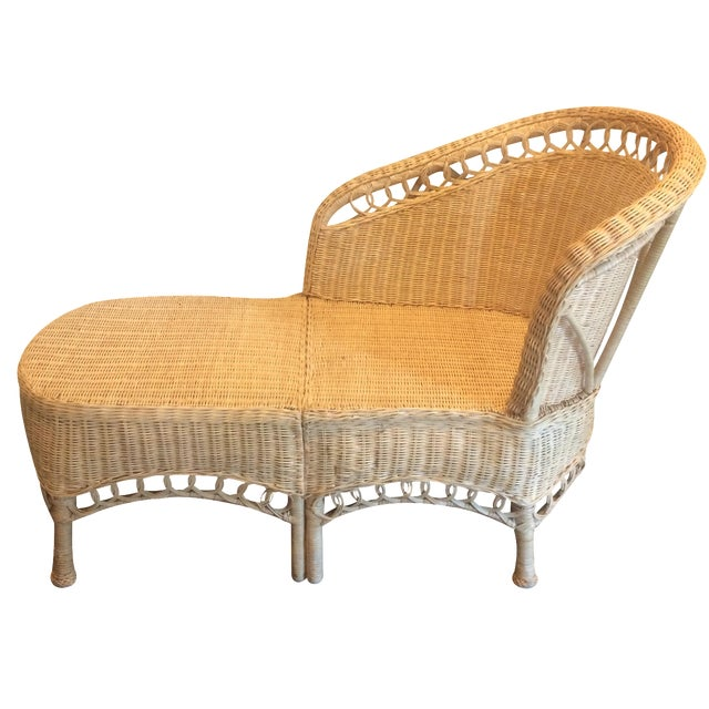 Vintage Wicker Chaise Lounge - Image 1 of 9