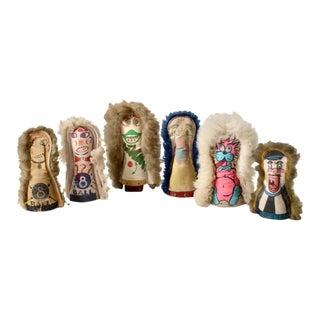 Vintage Carnival Knock Down Dolls - Set of 6 For Sale