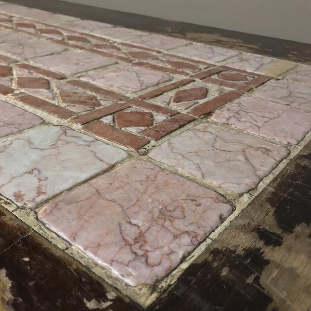 19th Century Spanish Table With Marble Tiles For Sale In Dallas - Image 6 of 13