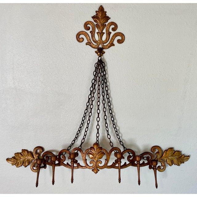 1970s Goldtone Hanging Candelabra For Sale - Image 9 of 9