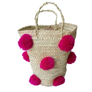 Moroccan Fuchsia Pompom Basket For Sale