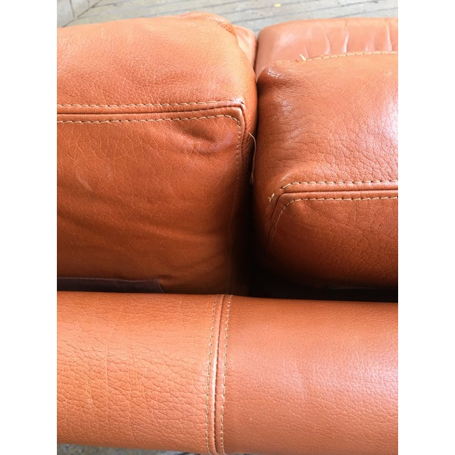 Burnt Orange Saporiti Burnt Orange Leather Sofa For Sale - Image 8 of 12
